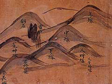 Hata no Nagatane's map of the old shrine buildings on the mountaintop